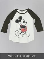 Junk Food Clothing Kids Girls Mickey Mouse Raglan-su/bw-xs
