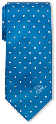Versace Blue Dot Pattern Silk Tie