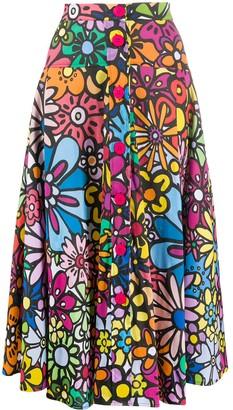 Ultràchic Flower Print Flared Skirt