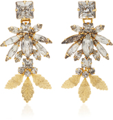 Nicole Romano 18K Gold Triple Leaf Crystal Earrings