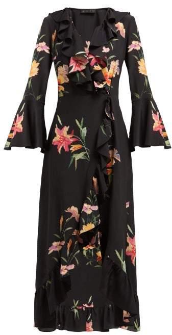 Etro Magnetic Fields Floral Print Silk Crepe Wrap Dress - Womens - Black Multi