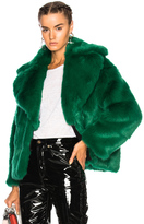 MSGM Faux Fur Jacket in Green.