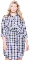 ELOQUII Plus Size Plaid Tie-Waist Shirt Dress