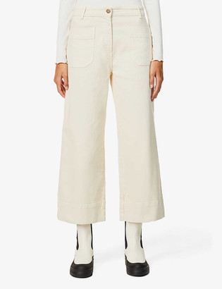 Sessun Wide-leg high-rise cotton-twill jeans