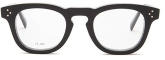 Celine Round-frame Acetate Glasses - Womens - Black