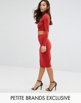 NaaNaa Petite Naanaa Petite Wrapfront Midi Bodycon Skirt