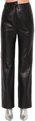 Annakiki High Waist Wide Leg Leather Pants