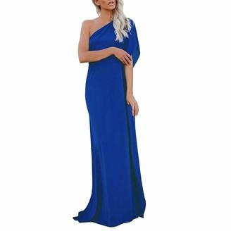 Esailq Women's Blouse Women Dresses ESAILQ Oblique Collar Solid Maxi Dress Evening Party Gown Ball Prom Long Dress(Blue M)