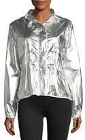 Moncler Jais Metallic Silver Jacket w/ Hood