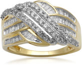JCPenney FINE JEWELRY 1 CT. T.W. Diamond 10K Yellow Gold Crossover Cocktail Ring