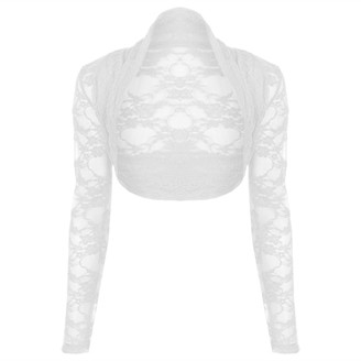 Oops Outlet Women's Lace Long Sleeve Open Bolero Cropped Cardigan Shrug Top - off-white - 16-18