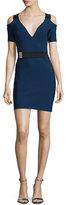Thierry Mugler Cold-Shoulder Belted Sheath Dress, Denim/Black