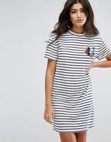 Daisy Street T-Shirt Dress in Stripe With Bad Luck Embroidery