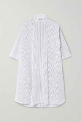 Givenchy Oversized Tie-neck Striped Cotton-poplin Mini Dress - Blue