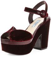 Prada Patent-Trim Velvet Platform Sandal, Bordeaux