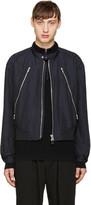 Issey Miyake Navy Zip Bomber Jacket