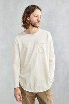 Urban Outfitters Nubby Linen Curved Hem Long Sleeve Tee