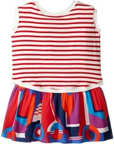 Junior Gaultier Striped/Color Block Front and Back Printed Dress Girl's Dress