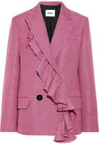 MSGM Ruffle-trimmed Houndstooth Wool Blazer - Pink