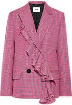 MSGM Ruffle-trimmed Houndstooth Wool Blazer