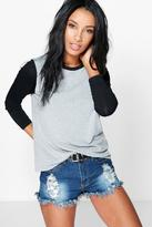 Boohoo Grace Contrast Sleeve + Neck T-Shirt