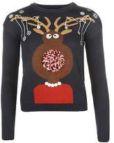 Star Womens 3D Xmas Knitted Jumper Christmas Sweater Pullover Long Sleeve Round