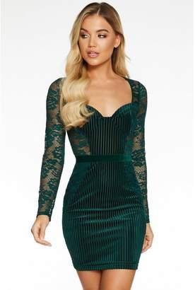 Quiz Bottle Green Velvet Lace Sweetheart Bodycon Dress