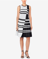 Catherine Malandrino Striped Jacquard Fit & Flare Dress