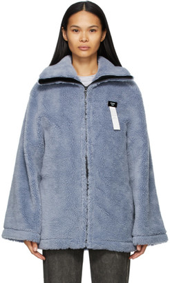 we11done Blue Sherpa Zip-Up Jacket