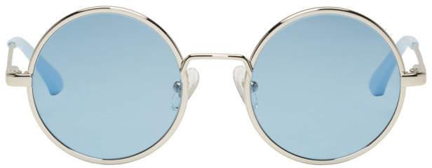Dries Van Noten Silver and Blue Linda Farrow Edition 155 C5 Sunglassass