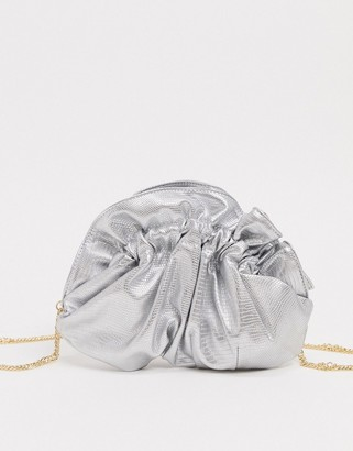 ASOS DESIGN ruched pouch frame clutch with chain strap in metallic silver