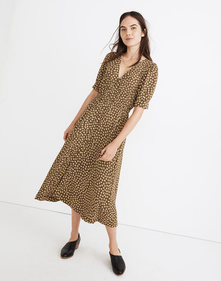 Madewell Button-Cuff Midi Dress in Woodcut Flowers