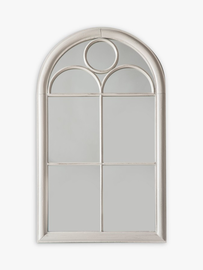 John Lewis & Partners Church Arch Window Metal Frame Outdoor Wall Mirror, 152.5 x 59.5cm, Taupe