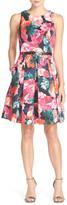 Eliza J Belted Floral Print Faille Fit & Flare Dress (Petite)