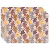 uneekee Oak Leaves Placemat Set of 4 Vinyl Easy Clean Heat Insulation Stain-resistant