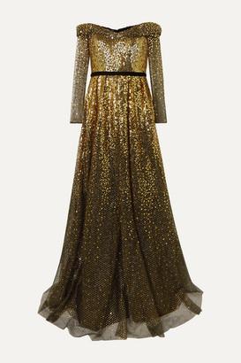 Marchesa Off-the-shoulder Velvet-trimmed Ombre Sequined Tulle Gown - Black