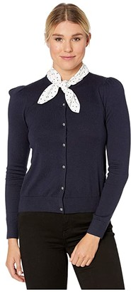 Lauren Ralph Lauren Cotton Modal Long Sleeve Cardigan (Lauren Navy) Women's Clothing