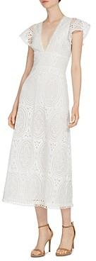 ML Monique Lhuillier Lace Flutter Sleeve Midi Dress
