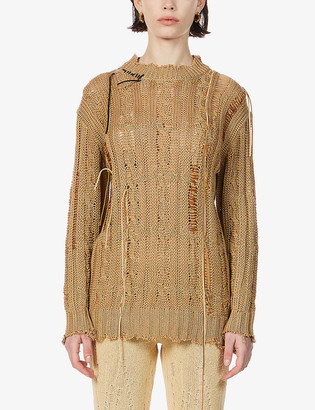 ANDERSSON BELL Layla distressed linen and cotton-blend jumper