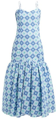 Rebecca De Ravenel Daffodil Floral-print Cotton-blend Dress - Womens - Blue Print