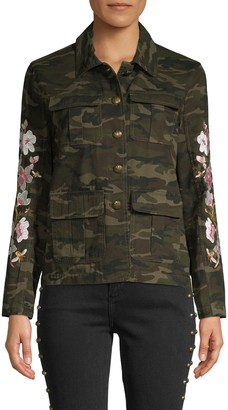 Driftwood Camouflage Floral-Embroidered Jacket