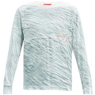 Eckhaus Latta Crease-print Cotton-jersey Long-sleeved T-shirt - Blue Multi