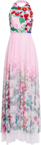 ROOPA Floral Embroidered Halter Gown