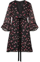 Anna Sui Tossed Tulips Printed Crinkled Silk-chiffon Mini Dress