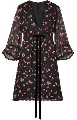 Anna Sui Tossed Tulips Printed Crinkled Silk-chiffon Mini Dress