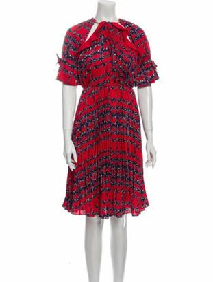 Self-Portrait Printed Midi Length Dress Red