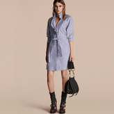 Burberry Striped Cotton Shirt Dress with Ruffles