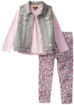 7 For All Mankind Vest, Top, & Twill Pant Set (Toddler Girls)