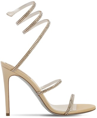 Rene Caovilla 105mm Snake Embellished Satin Sandals