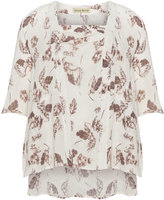 Isolde Roth Plus Size Printed dipped hem linen tunic